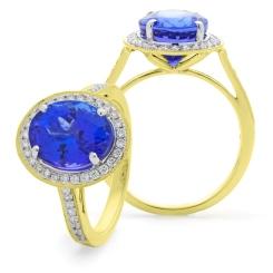 HROGTZ1098 Single Circle Halo Tanzanite & Diamond Gemstone Ring - yellow