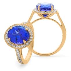 HROGTZ1098 Single Circle Halo Tanzanite & Diamond Gemstone Ring - rose