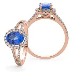 HROGTZ1099 Split Shank Tanzanite & Diamond Halo Ring - rose