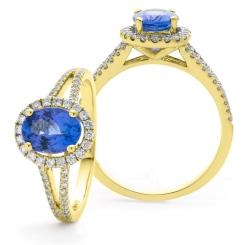 HROGTZ1099 Split Shank Tanzanite & Diamond Halo Ring - yellow