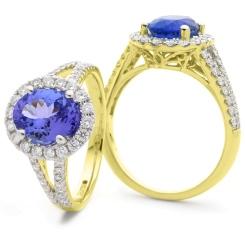 HROGTZ1100 Designer Split Shank Tanzanite & Diamond Halo Ring - yellow