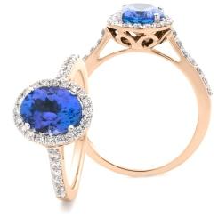 HROGTZ1105 Oval Shape Tanzanite & Diamond Single Halo Ring - rose