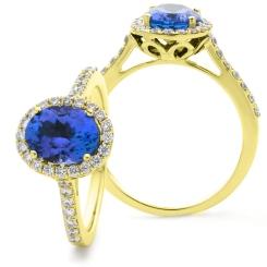 HROGTZ1105 Oval Shape Tanzanite & Diamond Single Halo Ring - yellow