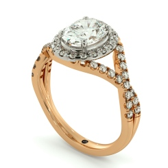 HROSD691 Crossover Swirls Oval cut Halo Diamond Ring - rose