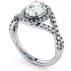 HROSD691 Crossover Swirls Oval cut Halo Diamond Ring - white