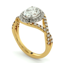 HROSD691 Crossover Swirls Oval cut Halo Diamond Ring - yellow