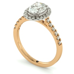 HROSD731 Oval cut Halo Diamond Ring - rose