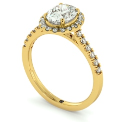 HROSD731 Oval cut Halo Diamond Ring - yellow