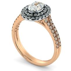 HROSD817 Oval Halo Diamond Ring - rose