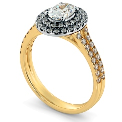 HROSD817 Oval Halo Diamond Ring - yellow