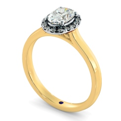 HROSD832 Oval Halo Diamond Ring - yellow