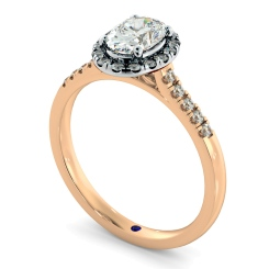 HROSD833 Oval Halo Diamond Ring - rose