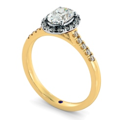 HROSD833 Oval Halo Diamond Ring - yellow