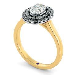HROSD834 Oval Halo Diamond Ring - yellow