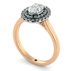 HROSD834 Oval Halo Diamond Ring - rose