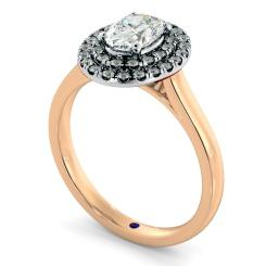 HROSD834 Oval Halo Diamond Ring - rose