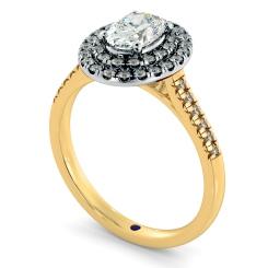 HROSD835 Oval Halo Diamond Ring - yellow