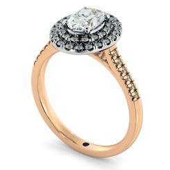 HROSD835 Oval Halo Diamond Ring - rose