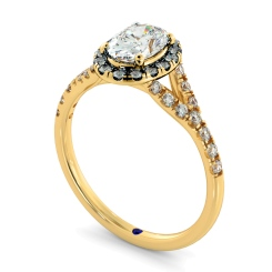 HROSD836 Oval Halo Diamond Ring - yellow