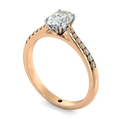 HROSD867 Oval Shoulder Diamond Ring - rose