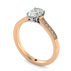 HROSD868 Oval Shoulder Diamond Ring - rose
