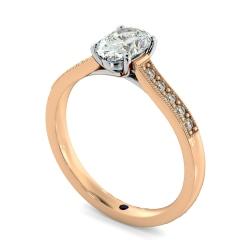 HROSD868 Oval Shoulder Diamond Ring - rose