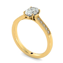 HROSD868 Oval Shoulder Diamond Ring - yellow