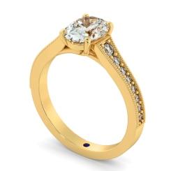 HROSD869 Oval Shoulder Diamond Ring - yellow