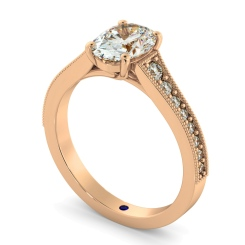 HROSD869 Oval Shoulder Diamond Ring - rose
