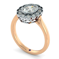 HROSD870 Oval Shoulder Diamond Ring - rose
