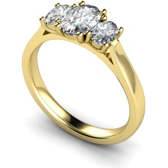 HROTR140 Oval 3 Stone Diamond Ring - yellow