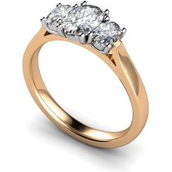 HROTR140 Oval 3 Stone Diamond Ring - rose
