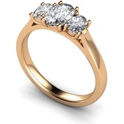HROTR140 Oval 3 Stone Diamond Ring - rose