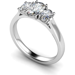 HROTR140 Oval 3 Stone Diamond Ring - white