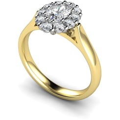 HROTR252 Oval Cluster Diamond Ring - yellow