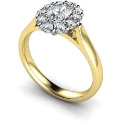 HROTR252 Oval Cluster Diamond Ring - yellow