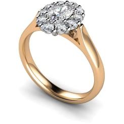 HROTR252 Oval Cluster Diamond Ring - rose