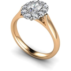 HROTR252 Oval Cluster Diamond Ring - rose