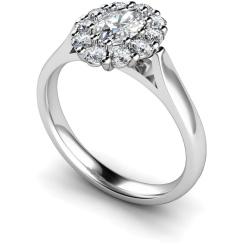 HROTR252 Oval Cluster Diamond Ring - white