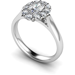 HROTR252 Oval Cluster Diamond Ring - white