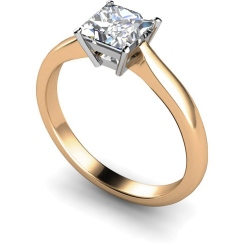 HRP266 Princess Solitaire Diamond Ring - rose