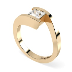 HRP307 Princess Solitaire Diamond Ring - rose