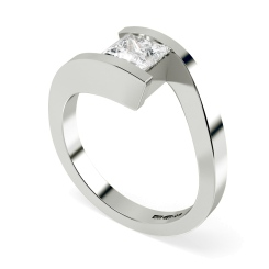 HRP307 Princess Solitaire Diamond Ring - white