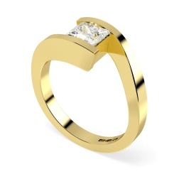 HRP307 Princess Solitaire Diamond Ring - yellow