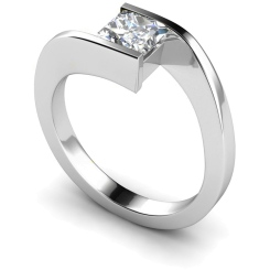 HRP307 Princess Solitaire Diamond Ring - white