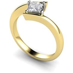 HRP322 Princess Solitaire Diamond Ring - yellow