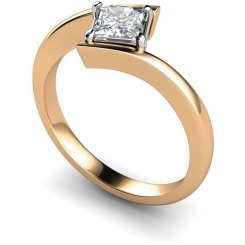 HRP322 Princess Solitaire Diamond Ring - rose