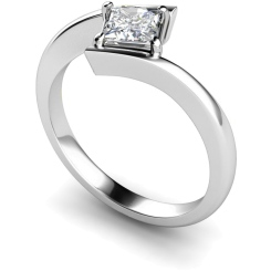 HRP322 Princess Solitaire Diamond Ring - white