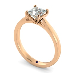 HRP323 Princess Solitaire Diamond Ring - rose