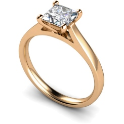 HRP341 Princess Solitaire Diamond Ring - rose